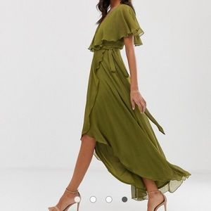 ASOS cape back dipped hem maxi dress